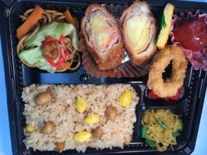 1 豚肉の明太ポテトロールフライ&帆立と銀杏の炊き込みご飯・・・