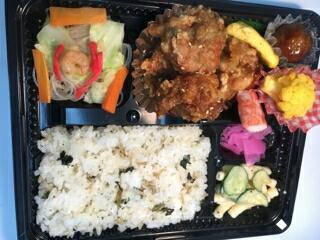1 若鶏のゴマ山椒香味竜田揚げ&ちりめんと青菜まぜごはん・・・