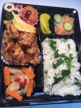 1 若鶏の竜田ゴマ甘酢あんかけ&菜の花とちりめんまぜ・・・