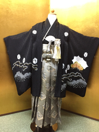 七五三衣装 男の子 絹の紋付着物