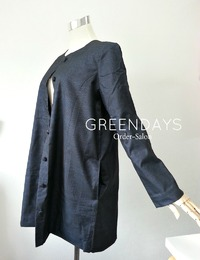 大島紬の着物リメイクでオーダーコート(ノーカラー・ロングジャケット)!