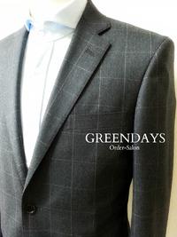 グレー×ホワイトのウインドウペン柄オーダースーツ☆