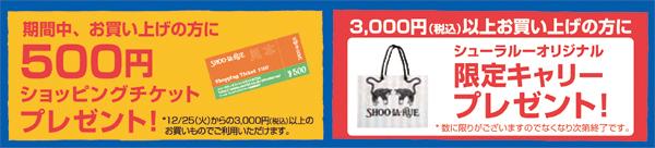 期間中、お買い上げの方に500円ショッピングチケットプレゼント!3000円以上お買い上げの方に限定キャリープレゼント!